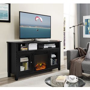 58-inch Wood Highboy Fireplace TV Stand - Black