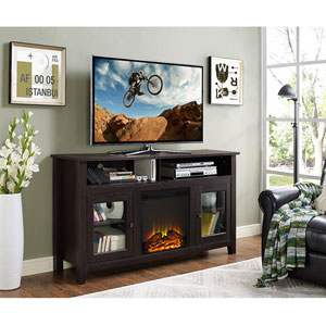 58-inch Wood Highboy Fireplace TV Stand - Espresso