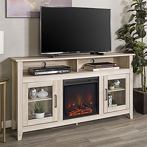 58-Inch Wood Highboy Fireplace Media TV Stand Console - White Oak