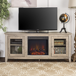 58-Inch Wood Media TV Stand Console with Fireplace - Grey Wash
