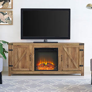 58-inch Barn Door Fireplace TV Stand - Barnwood