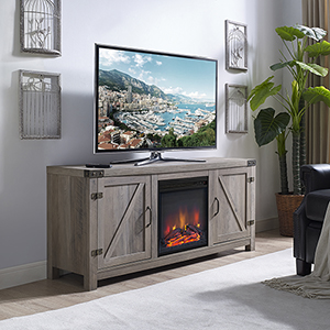 58-Inch Barn Door Fireplace TV Stand - Grey Wash