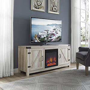 58-Inch Barn Door Fireplace TV Stand - White Oak
