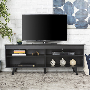 58-Inch Wood Simple Contemporary Console - Black