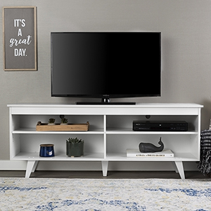 58-Inch Wood Simple Contemporary Console - White
