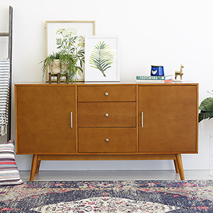 60-Inch Mid-Century Modern Wood TV Console - Acorn