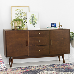 60-Inch Mid-Century Modern Wood TV Console - Walnut