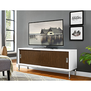 60-Inch Manhattan Wood TV Console with Full Sliding Doors - White/Walnut