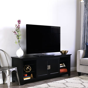 Black 70-Inch Wood TV Console With Sliding Doors