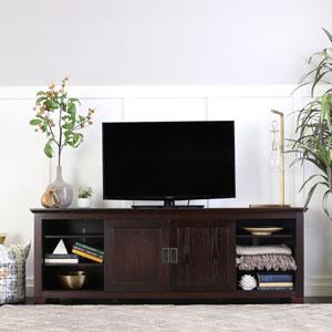 Espresso 70-Inch Wood TV Console W / Sliding Doors