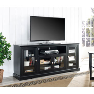 70-inch Black Wood Highboy TV Stand