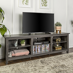 70-Inch Wood Media TV Stand Storage Console - Charcoal