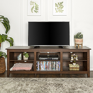 70-Inch Wood Media TV Stand Storage Console - Traditional Brown