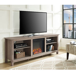 70-inch Fireplace TV Stand - Driftwood