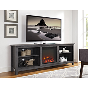 70-Inch Wood Media TV Stand Console with Fireplace - Charcoal