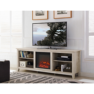 70-Inch Wood Media TV Stand Console with Fireplace - White Oak