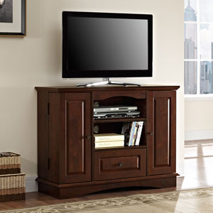 Traditional Brown 42-Inch Bedroom TV Console with Media Storage