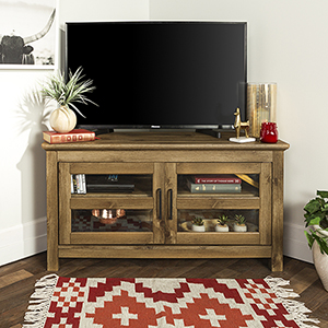 44-Inch Wood Corner TV Media Stand Storage Console - Barn wood