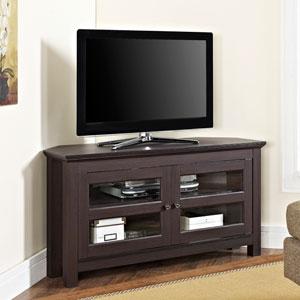 44-inch Espresso Wood Corner TV Stand