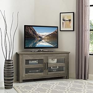 44-Inch Corner Wood TV Console - Grey Wash