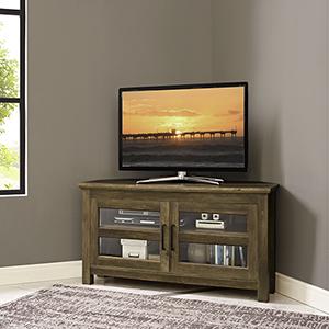 44-Inch Corner Wood TV Console - Rustic Oak