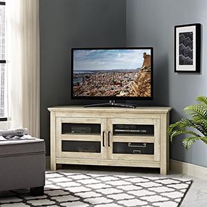 44-Inch Corner Wood TV Console - White Oak