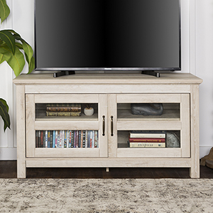 44-Inch Wood TV Media Stand Storage Console - White Oak