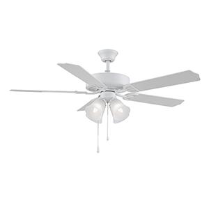 Aire Decor Matte White Four-Light LED Ceiling Fan