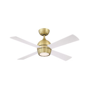 Kwad Brushed Satin Brass 44-Inch LED Ceiling Fan with Matte White Blades
