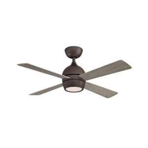 Kwad Matte Greige 44-Inch LED Ceiling Fan with Weathered Wood Blades