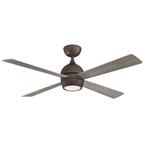 Kwad Matte Greige 52-Inch LED Ceiling Fan with Weathered Wood Blades