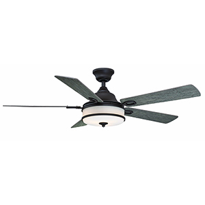 Stafford Matte Greige Three-Light LED Ceiling Fan