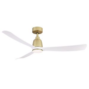 Kute Brushed Satin Brass 52-Inch Ceiling Fan with Matte White Blades