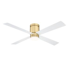 Kwartet Brushed Satin Brass 52-Inch LED Indoor Outdoor Ceiling Fan