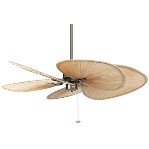 Islander Antique Brass Ceiling Fan with Wide Natural Blades