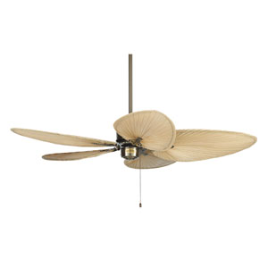Islander Antique Brass Ceiling Fan with Narrow Natural Blades