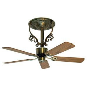 Americana Antique Brass Short Ceiling Fan with Oak and Walnut Blades