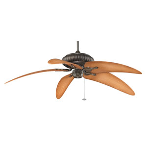 Belleria Aged Bronze Ceiling Fan with Natural Bent Blades