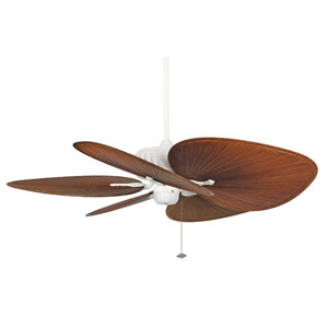 Belleria Matte White Ceiling Fan with Brown and Red Blades