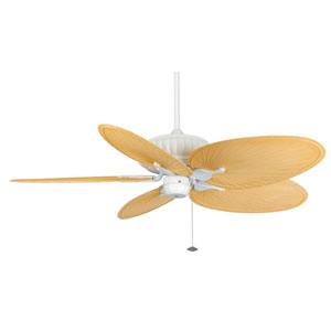 Belleria Matte White Ceiling Fan with Natural Blades