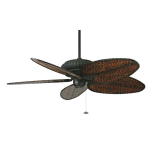 Belleria Textured Black Ceiling Fan with Antique Blades