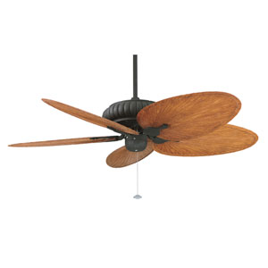 Belleria Textured Black Ceiling Fan with Brown and Red Blades