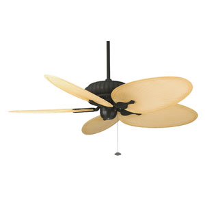 Belleria Textured Black Ceiling Fan with Natural Blades