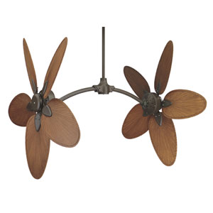 Caruso Oil Rubbed Bronze Adjustable Angle Ceiling Fan with Brown Palm Blades