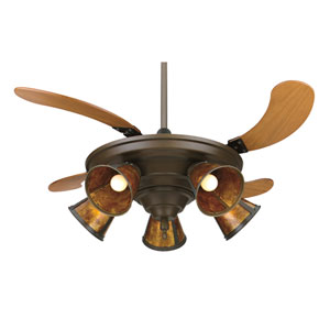 Air Shadow Oil Rubbed Bronze Ceiling Fan with Cherry Wood Retracting Blades and Amber Shades