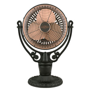 Old Havana Antique Copper Fan with Black Floor/Desk Base