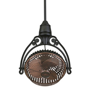 Old Havana Antique Copper Fan with Black Ceiling Mount