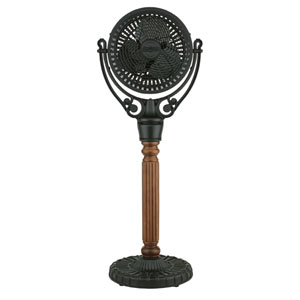 Old Havana Black Floor Fan with Carved Pedestal Column