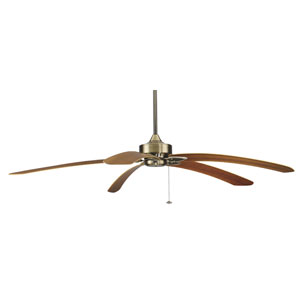 Windpointe Antique Brass 80-Inch Ceiling Fan with Teak Curved Blades