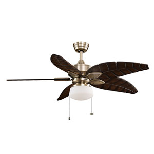 Windpointe Antique Brass Ceiling Fan with Walnut Blades and Light Kit
